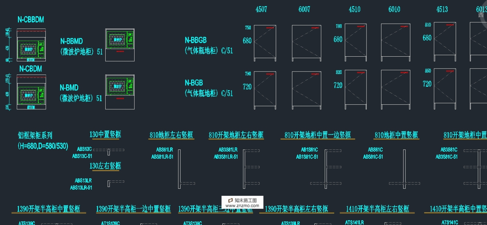 专业橱柜标准图块施工图下载【ID:96920663】
