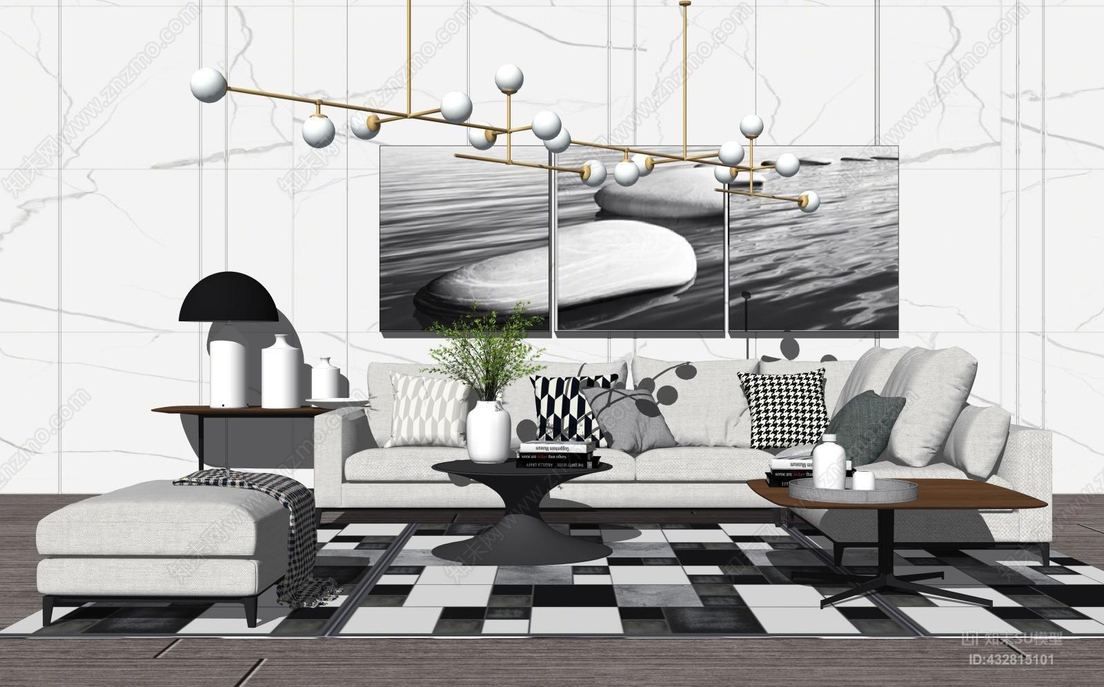 现代简约北欧沙发客厅吊灯SU模型