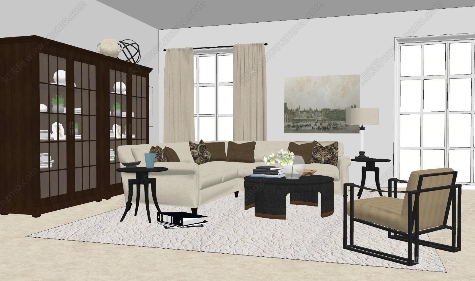 现代美式客厅组合