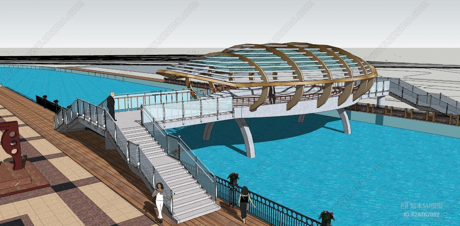 滨水景观桥构筑物