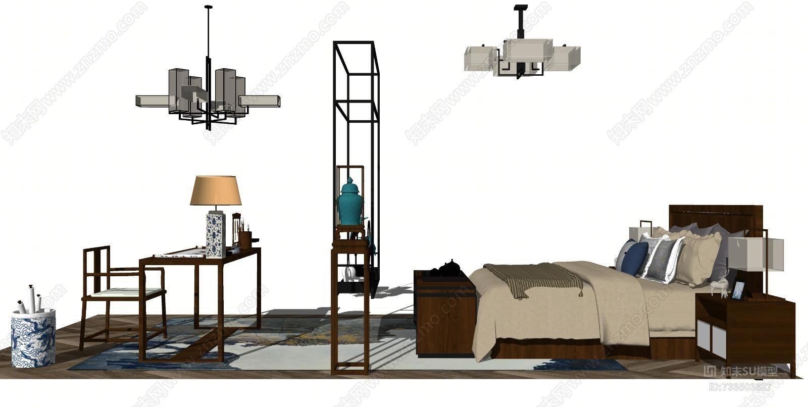 新中式床具书桌椅组合