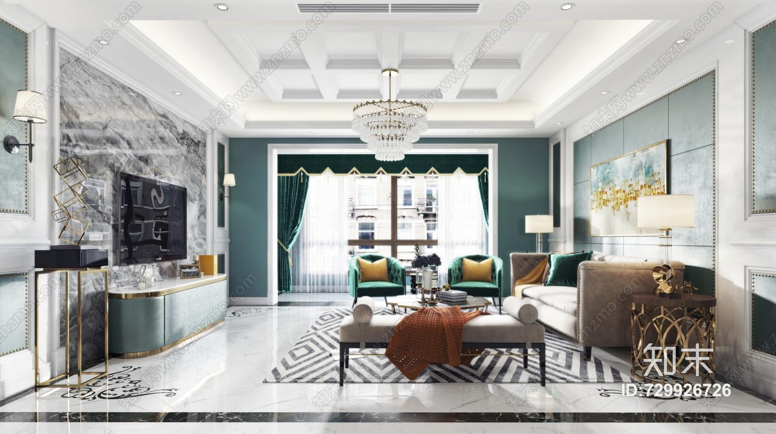 美式客餐厅 沙发茶几 吊灯 挂画 电视柜 摆件 餐桌椅
