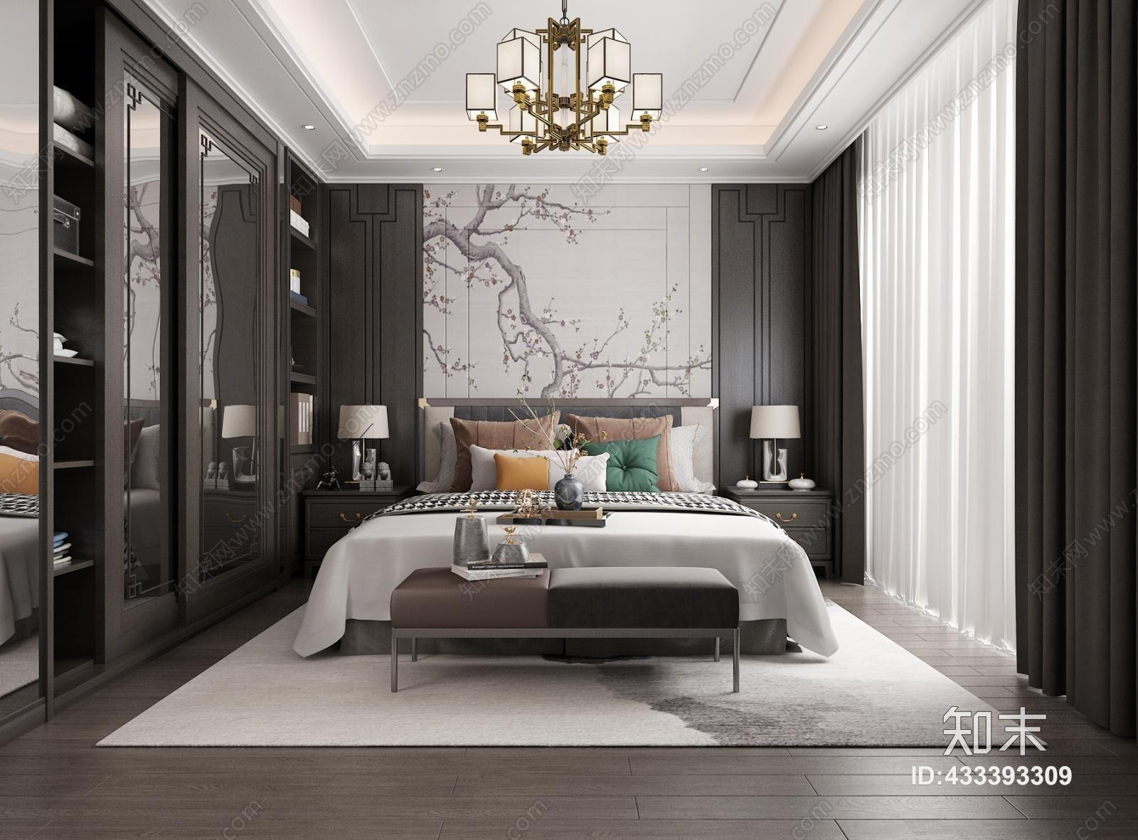 新中式卧室 双人床 床榻 背景墙 边几 衣柜 中式衣柜