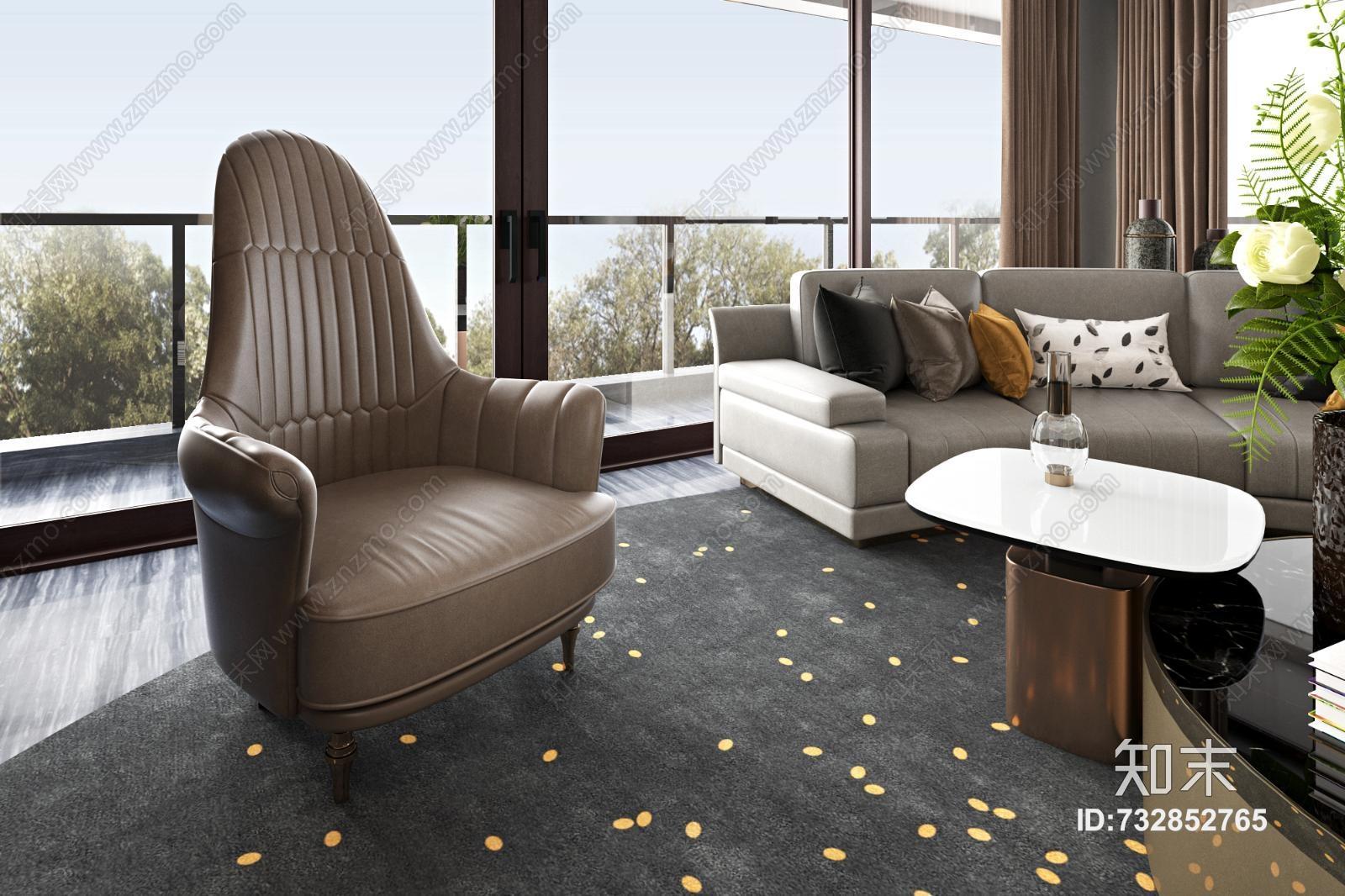 现代轻奢客厅 沙发茶几组合 水晶灯 单人皮沙发