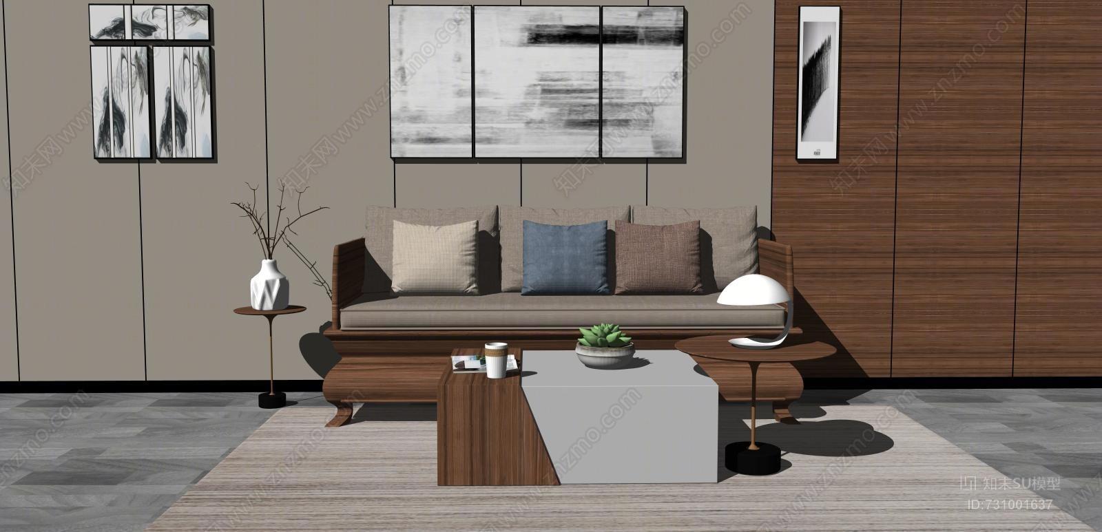 中式沙发茶几组合SU模型
