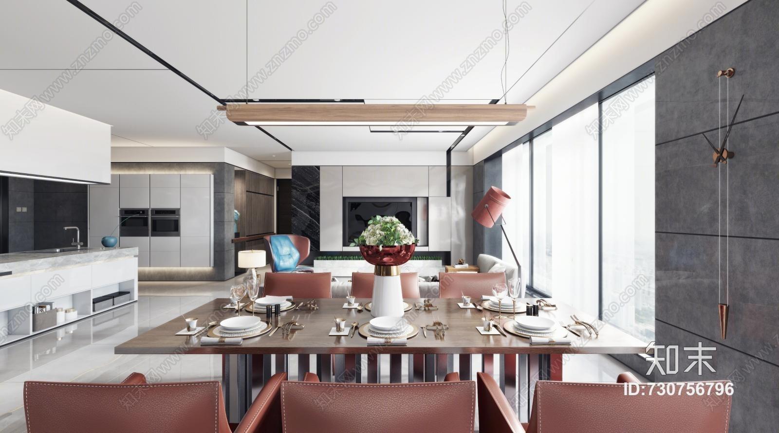 现代客厅餐厅 沙发茶几 落地灯 餐桌椅