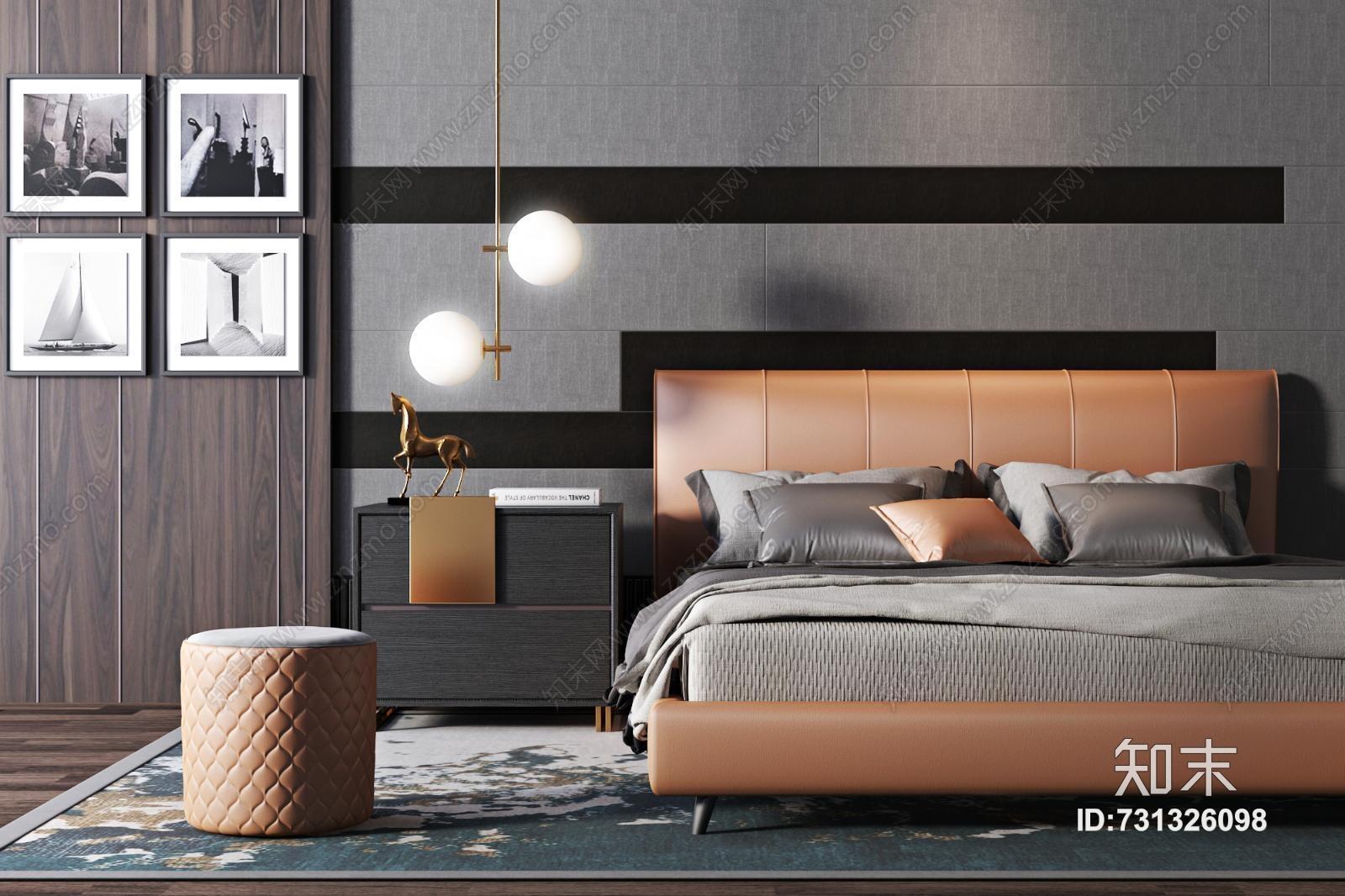 现代轻奢双人床组合 墩子 床头柜 吊灯