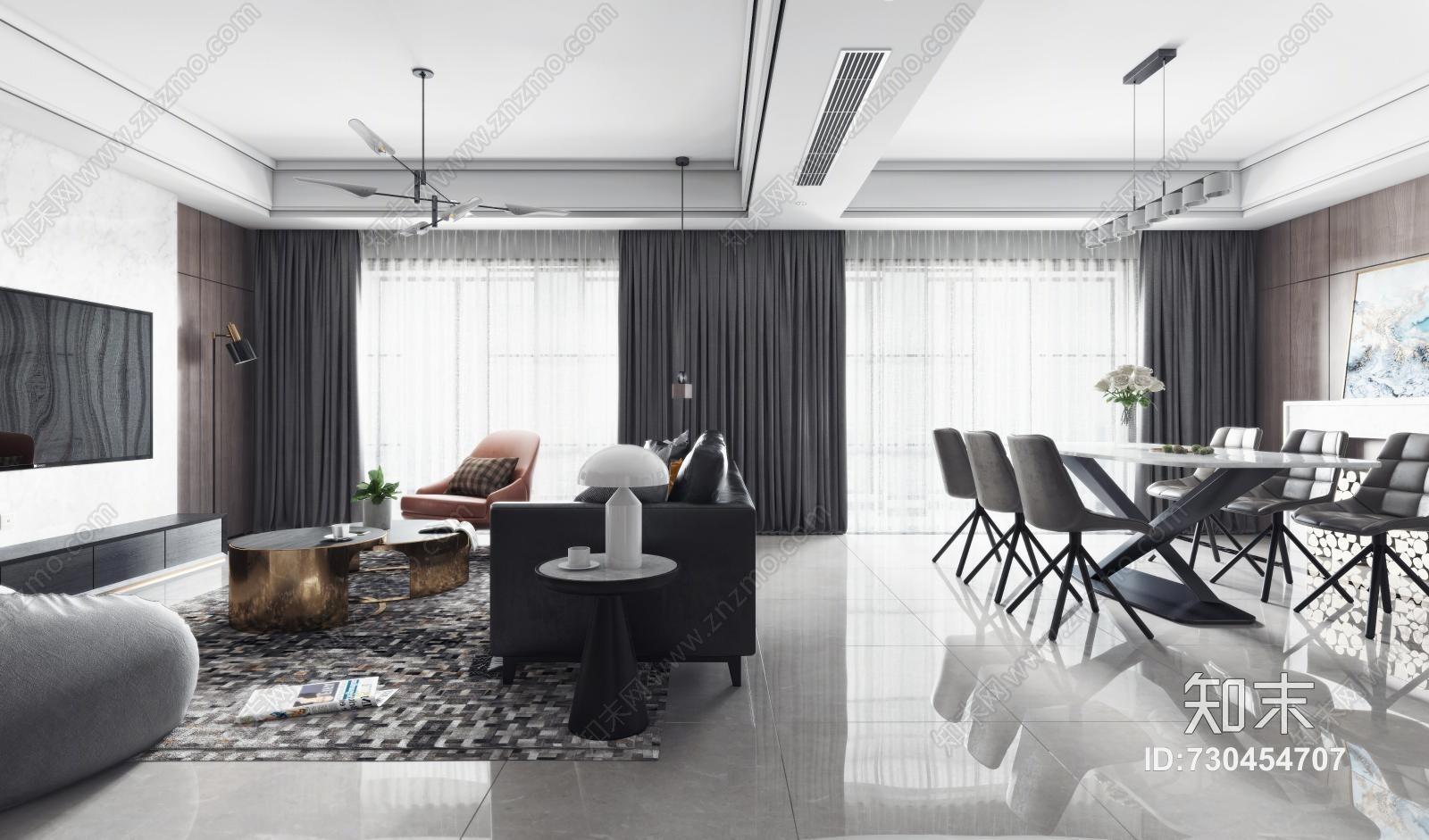 现代客厅餐厅 沙发茶几 吊灯 挂画 餐桌椅