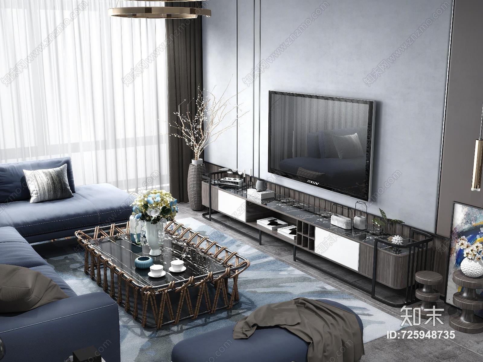 现代客厅 沙发 茶几 吊灯 装饰画