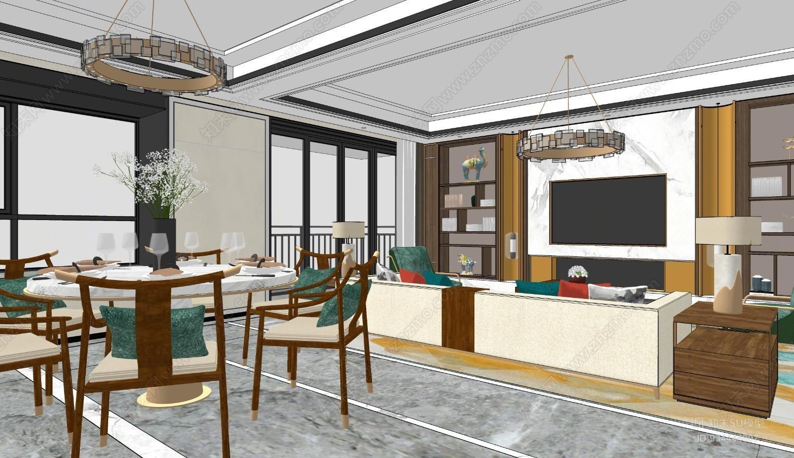 新中式轻奢客厅餐厅