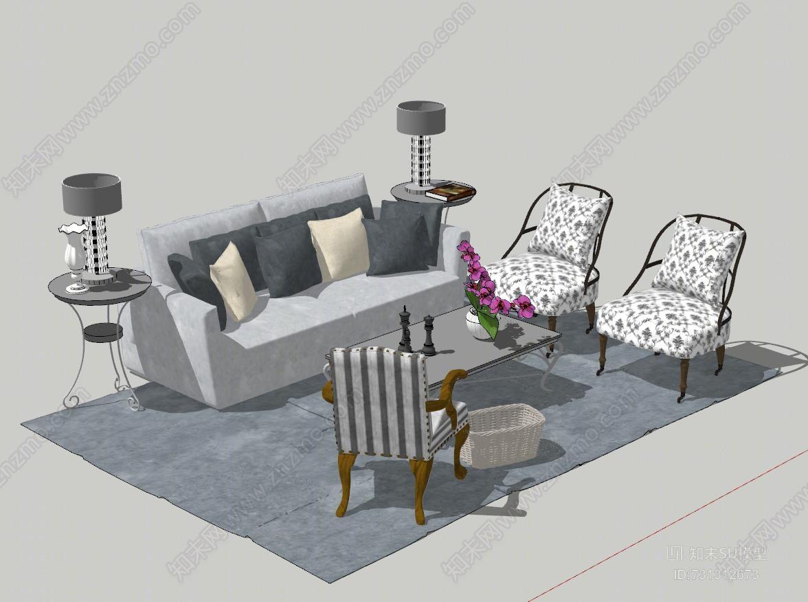 美式乡村田园风沙发茶几椅子组合