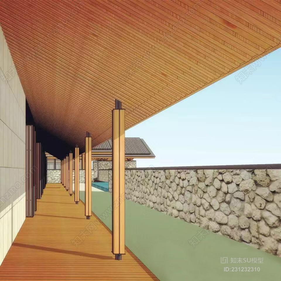 新中式木结构 新亚洲 坡屋顶建筑 山地会所中心 俱乐部 建筑设计建筑 室外 泳池 谷仓 庭院