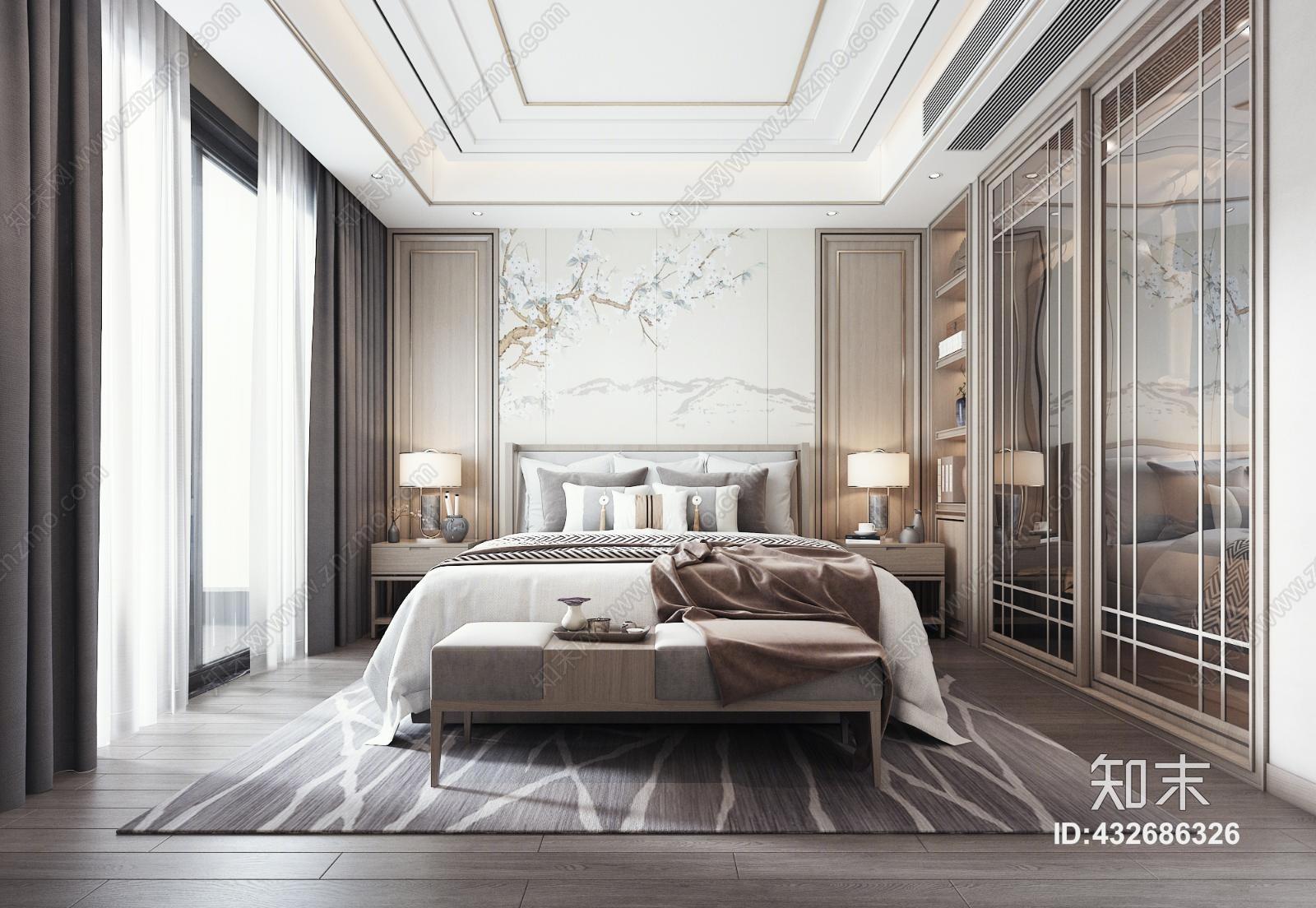 新中式主人房 床 吊灯 台灯 窗帘 装饰品 挂画 抱枕 床头柜 衣柜