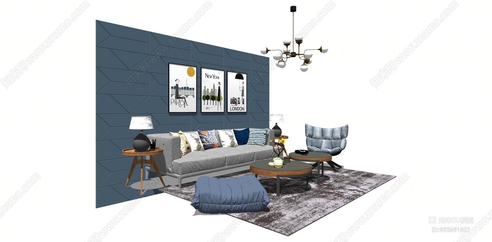 现代北欧风客厅 沙发 茶几 艺术吊灯 装饰画 单体沙发凳