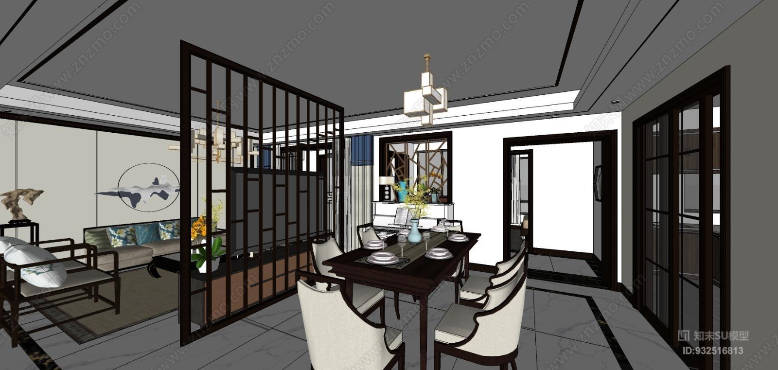 新中式客厅及其卧室