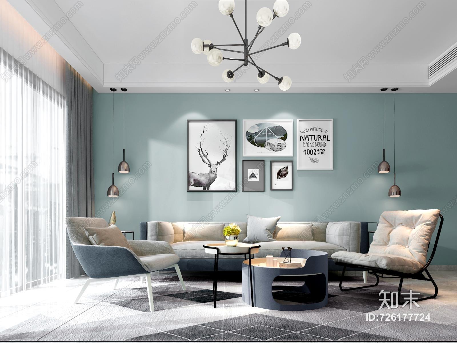 现代客厅 沙发茶几组合 单人椅 挂画 吊灯