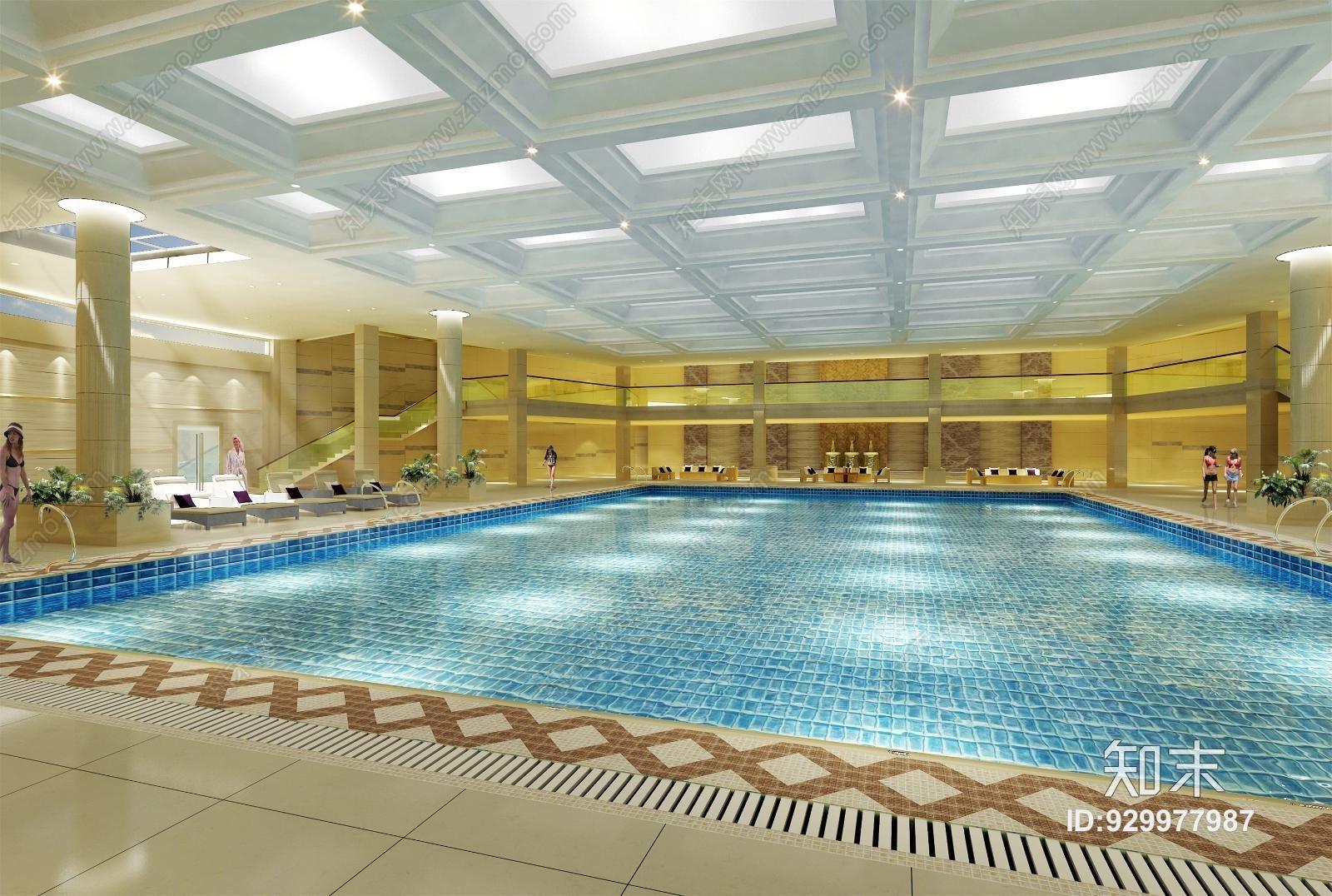 室内游泳池休息区3D模型教育建筑设计审定审核图片