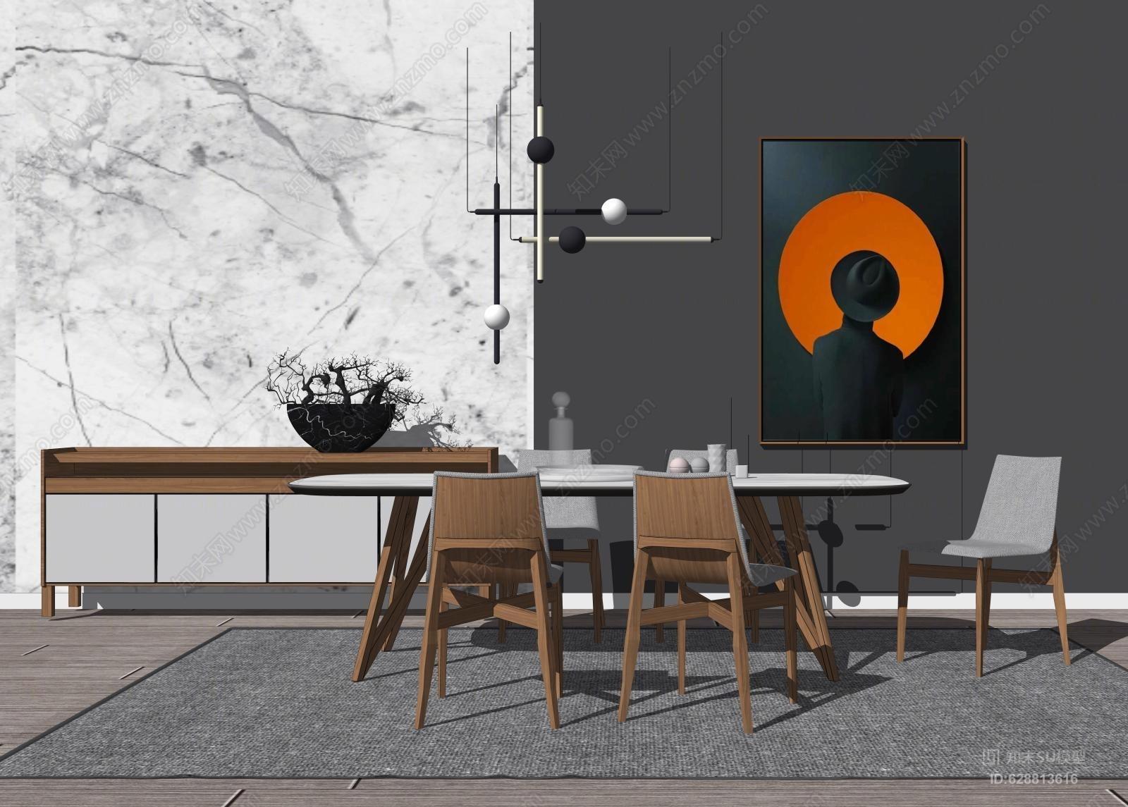 现代新中式餐桌SU模型