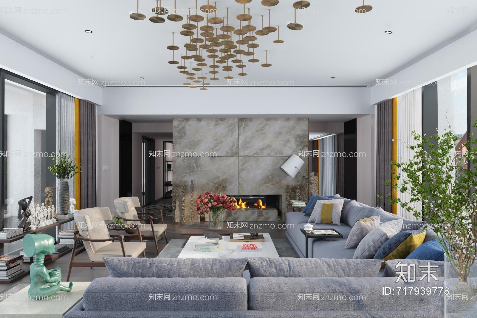 集艾设计现代客厅 吊灯 多人沙发组合 单人椅子 茶几 摆件 花 壁炉 书架