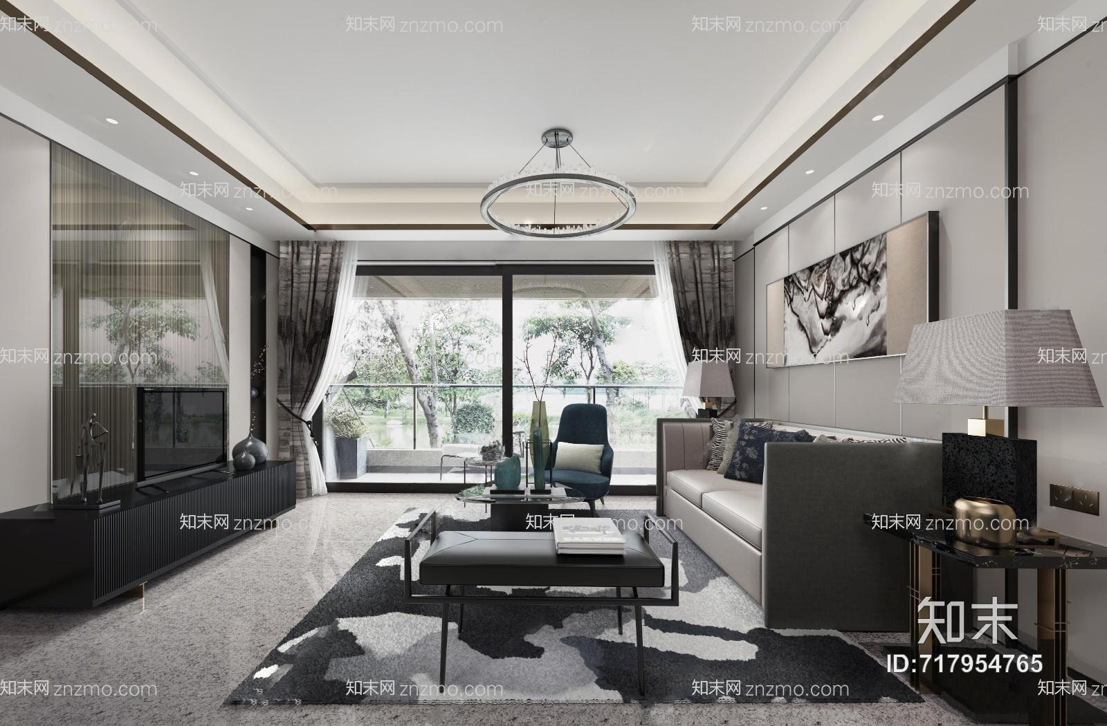 大集空间设计新中式客厅 吊灯 台灯 多人沙发 茶几 单人椅子 电视柜 摆件 地毯 挂画 沙发凳