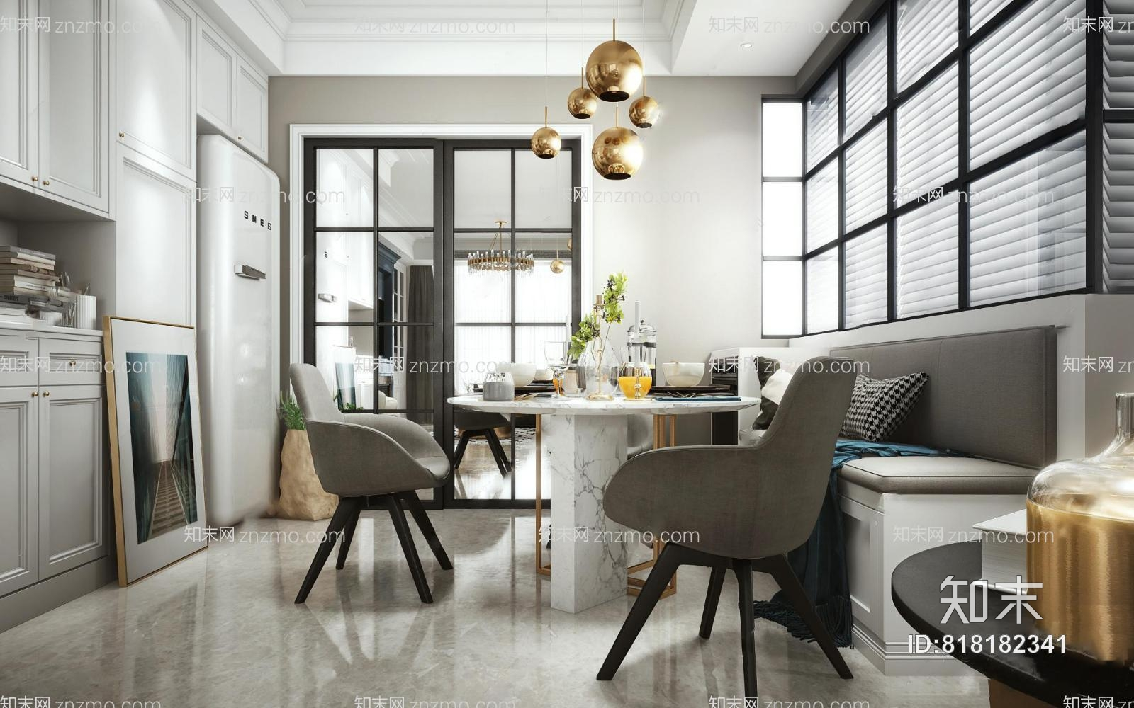 现代客餐厅 吊灯 台灯 单人沙发 多人沙发 茶几 壁炉 餐桌椅