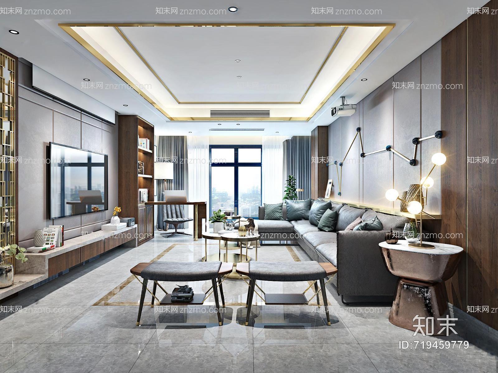现代客餐厅 吊灯 台灯 多人沙发 沙发凳 茶几 装饰柜 书架 摆件 书桌椅 装饰墙