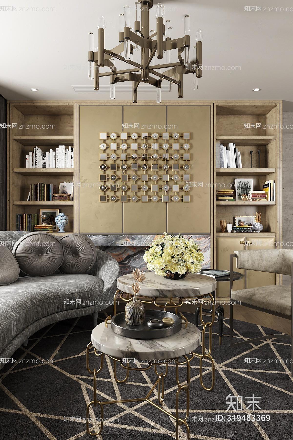 布鲁盟后现代客厅沙发茶几组合