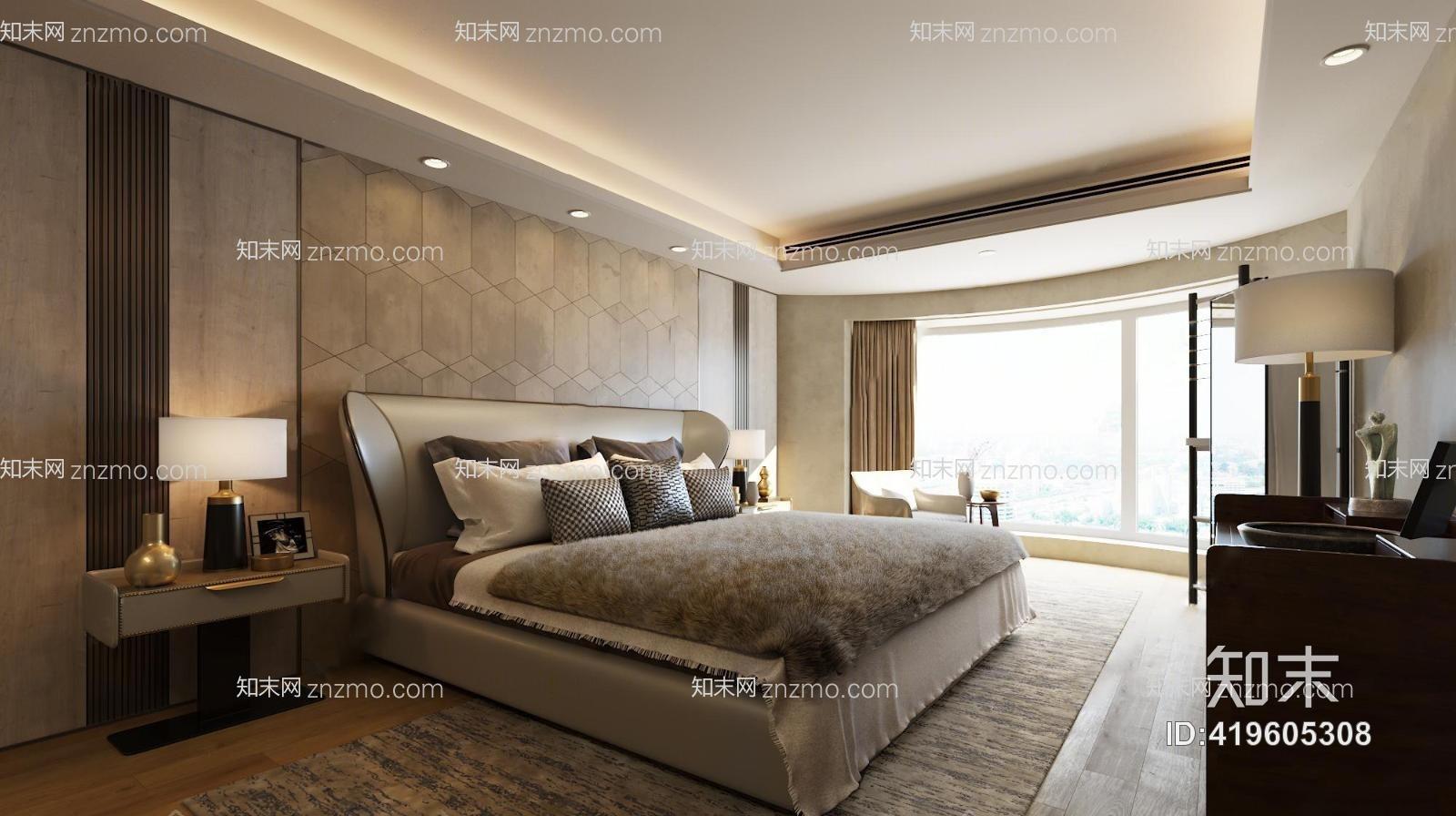 梁志天现代卧室 双人床 台灯 装饰柜 落地灯 单人沙发