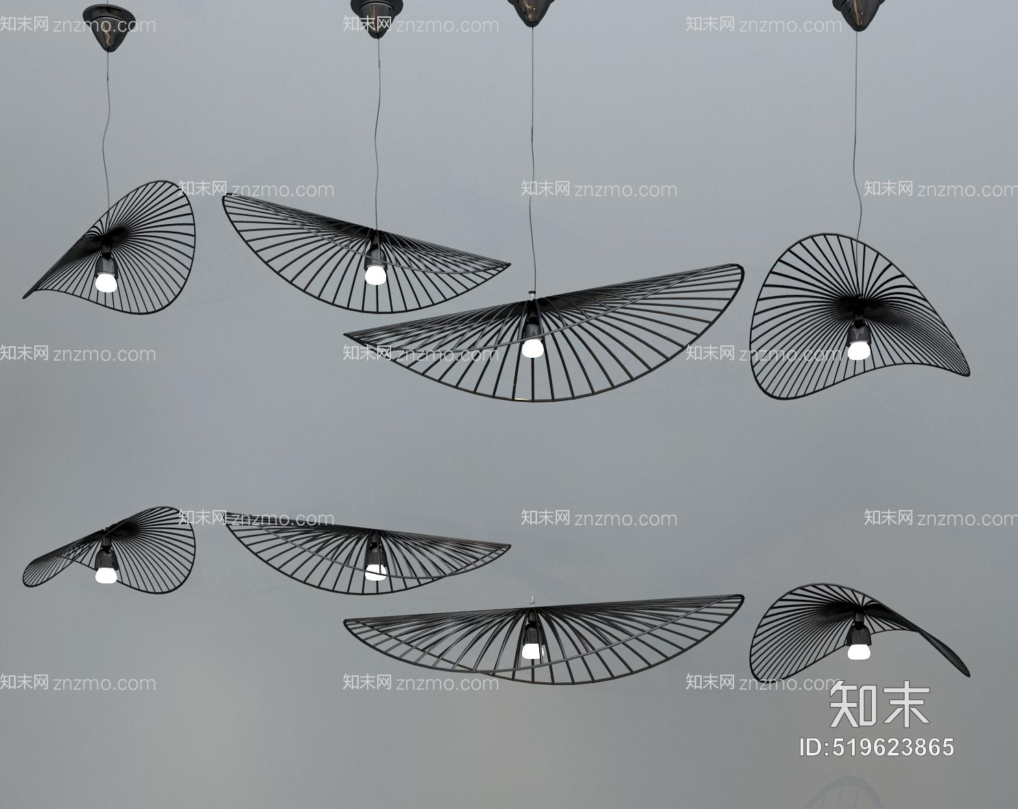 现代扇子吊灯组合 扇子吊灯 客厅吊灯 艺术吊灯 铁艺吊灯 餐厅吊灯