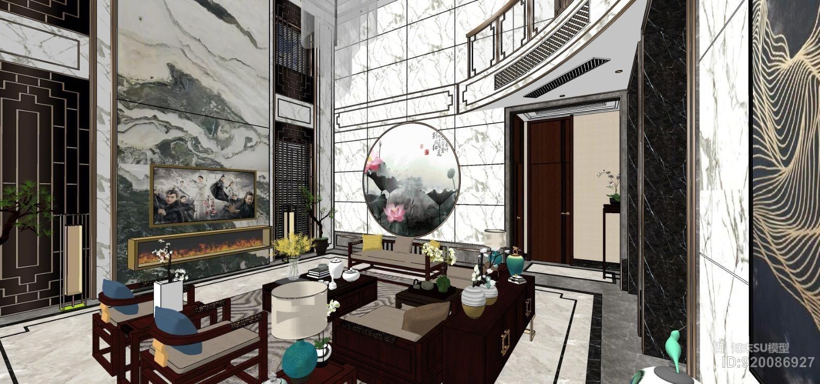 新中式客厅、玄关、草图模型。水晶吊灯、钛金不锈钢。
