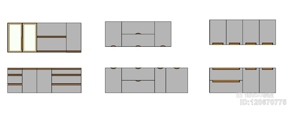 橱柜衣柜厨房柜酒柜定制家具门型现代欧式风格都有SU模型下载【ID:120670775】