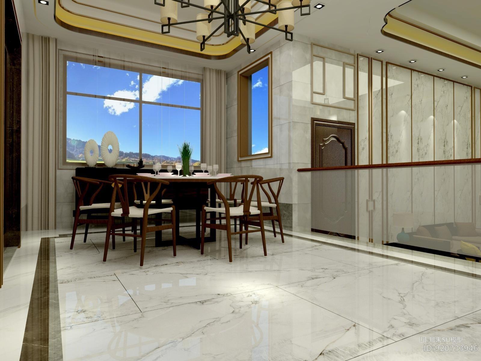 新中式别墅客厅 欧神诺卡萨罗大板瓷砖 新中式背景墙 新中式沙发背景墙