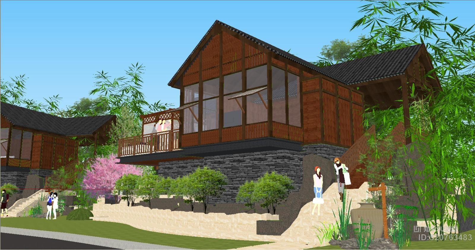 民宿农家乐木屋竹林su模型