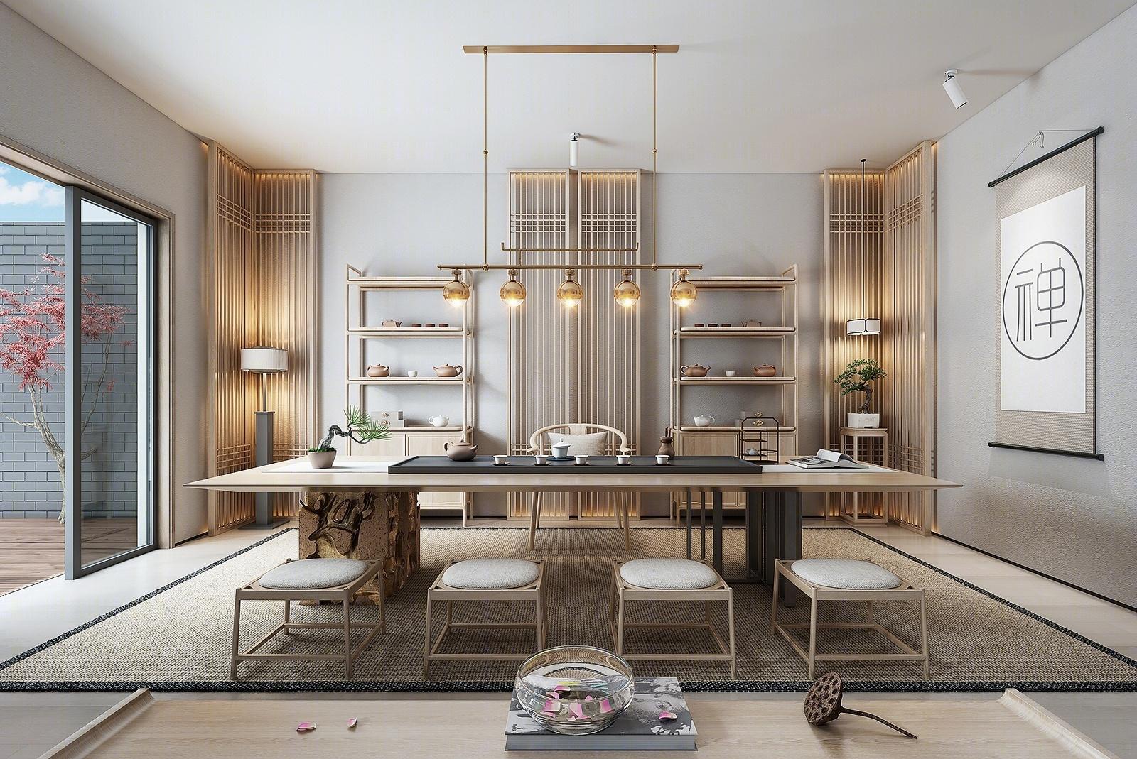 新中式家居书房 茶室 茶桌 吊灯 挂画 台灯 物件摆件