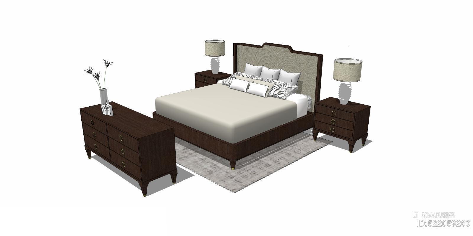新中式卧室双人床床头柜组合