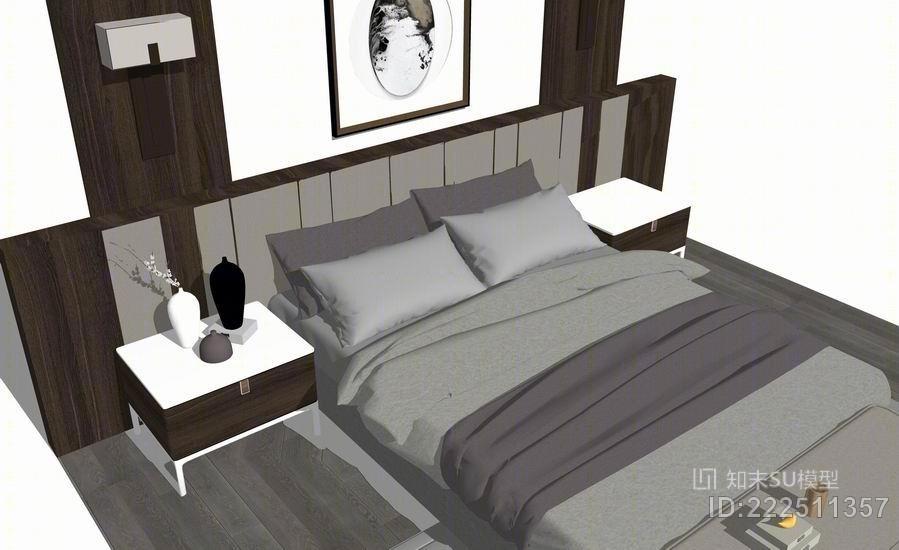 新中式双人床 卧室软装卧室家具 卧室背景墙