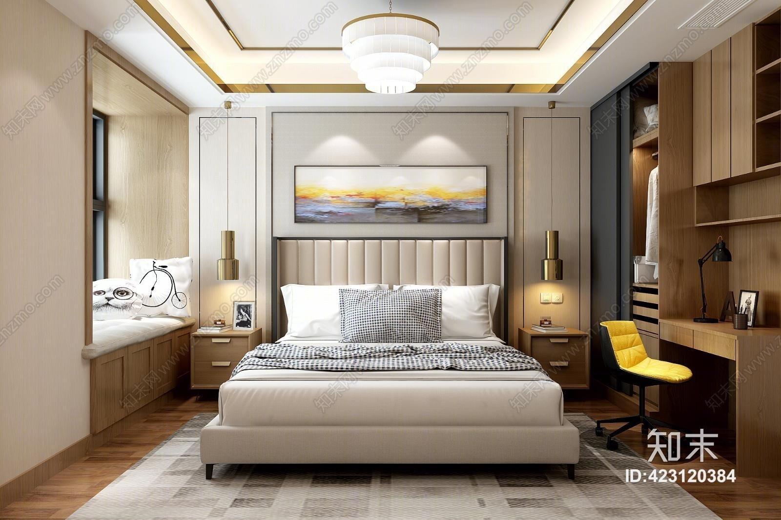 港式主卧室 衣柜 电脑桌 吊灯 双人床 床头柜 地毯 背景墙