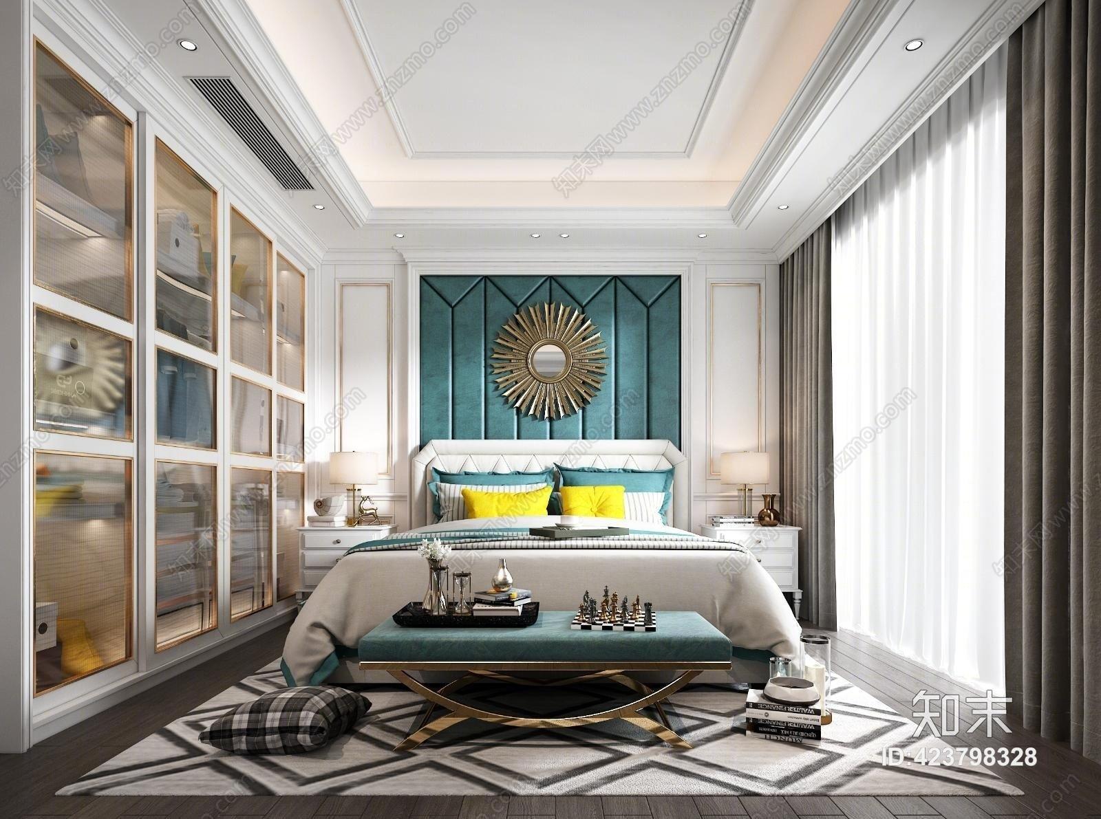 欧式主人房 窗 台灯 窗帘 衣柜 床头柜 地毯 装饰品 摆件 挂件