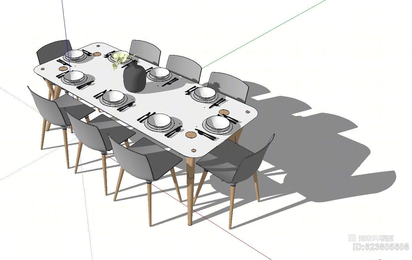 现代餐桌椅SU模型下载【ID:623805608】