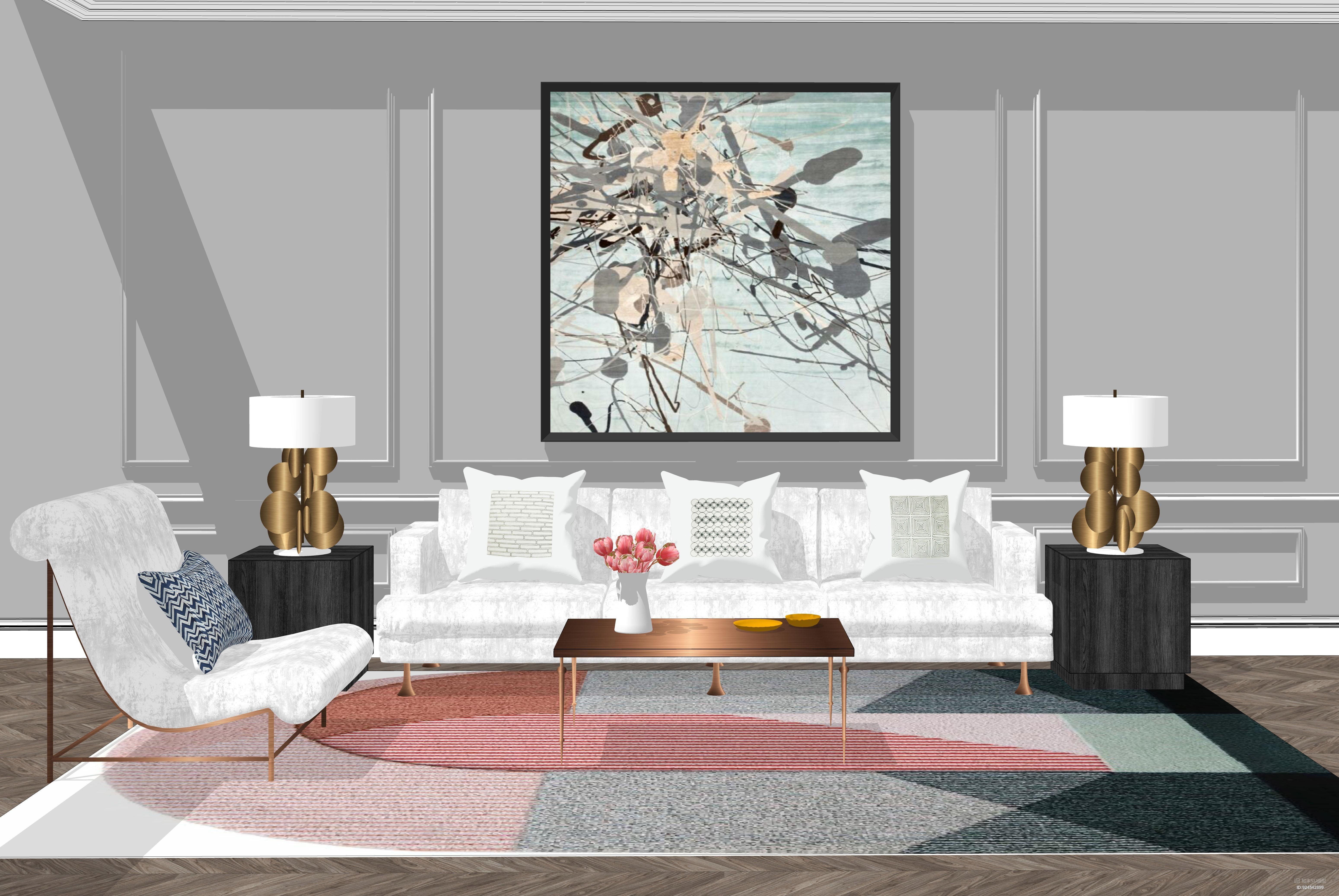 美式轻奢客厅SU模型