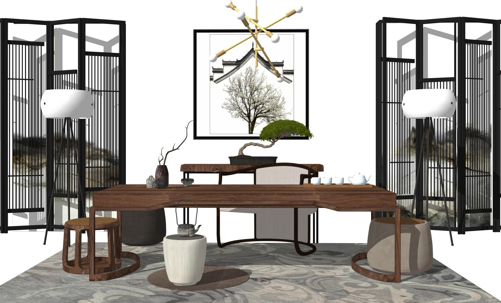 新中式茶室SU模型