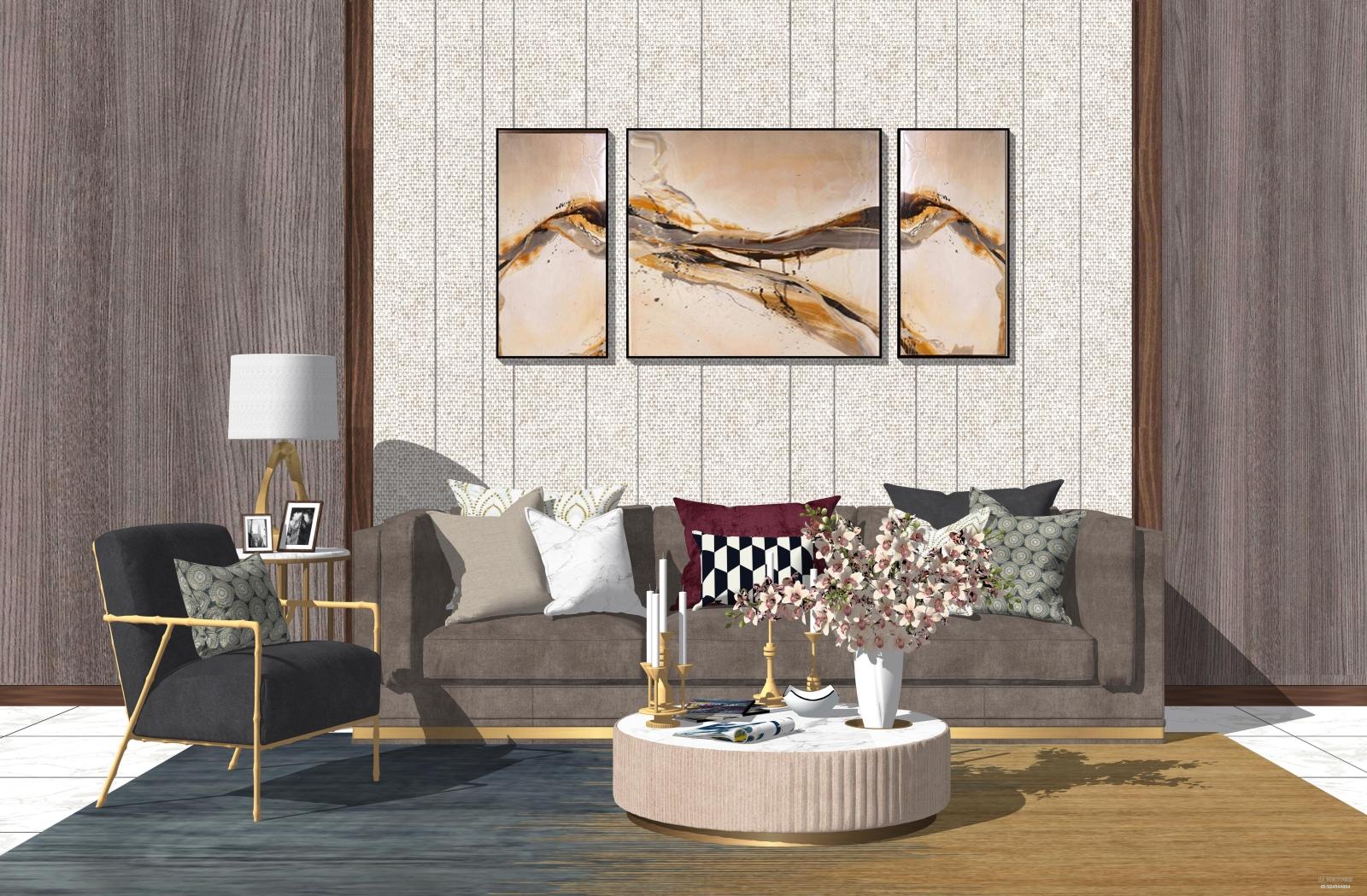 现代轻奢客厅沙发