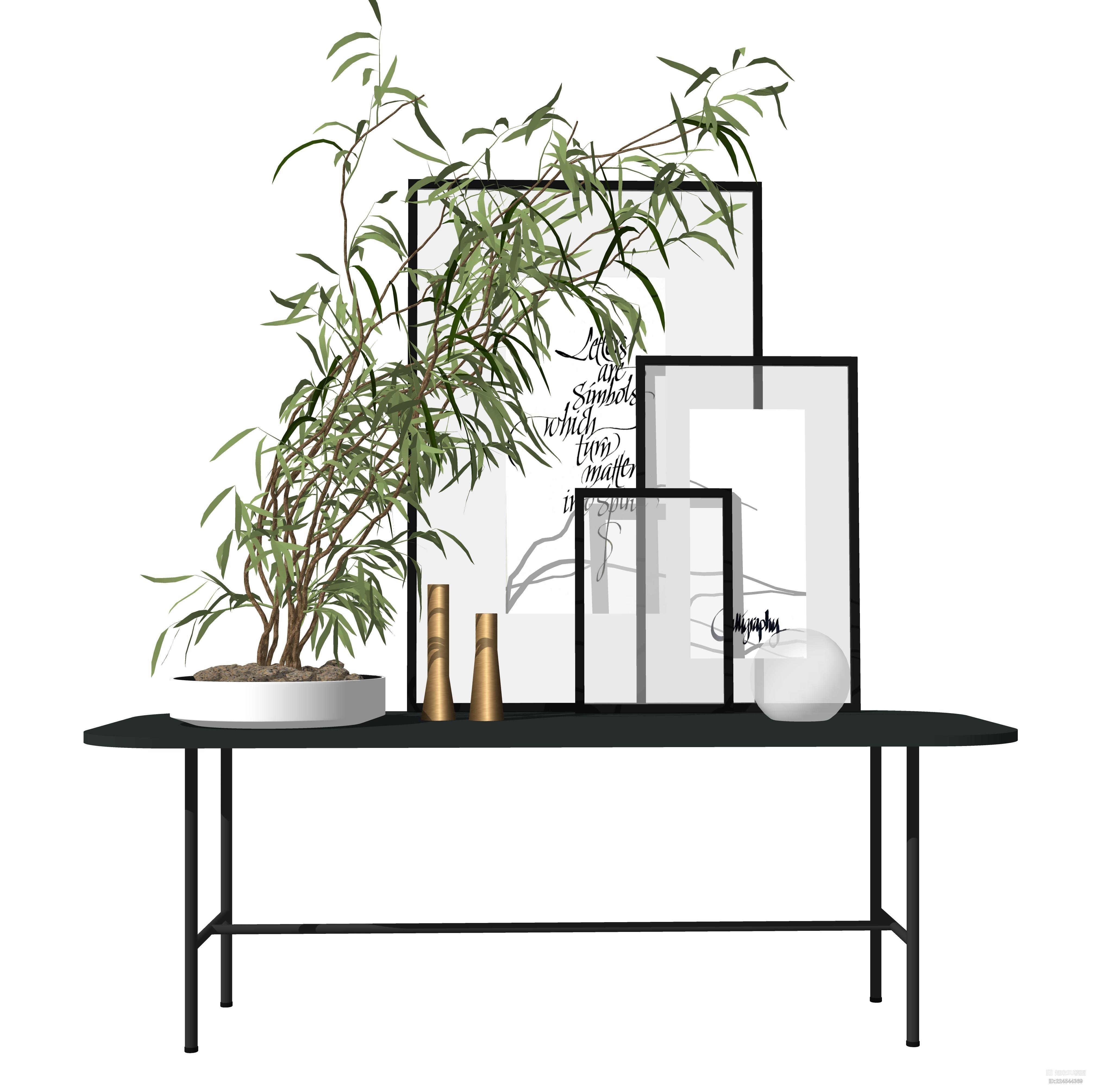 新中式植物端景台