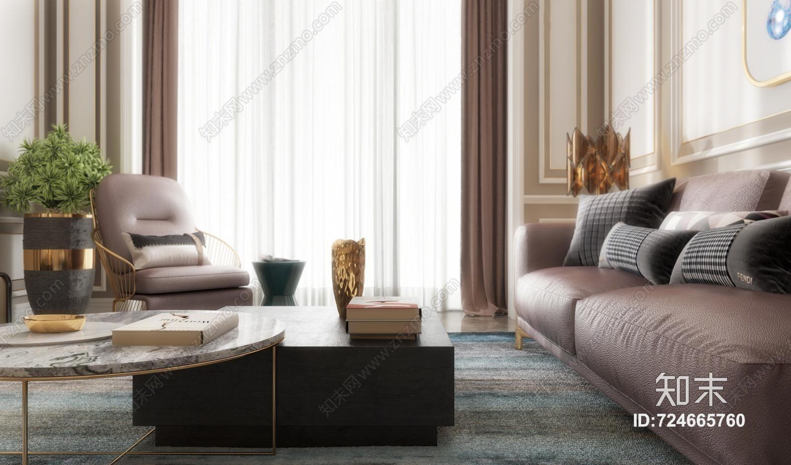 现代轻奢客厅 餐桌椅 沙发茶几 吊灯 桌面摆件 挂画