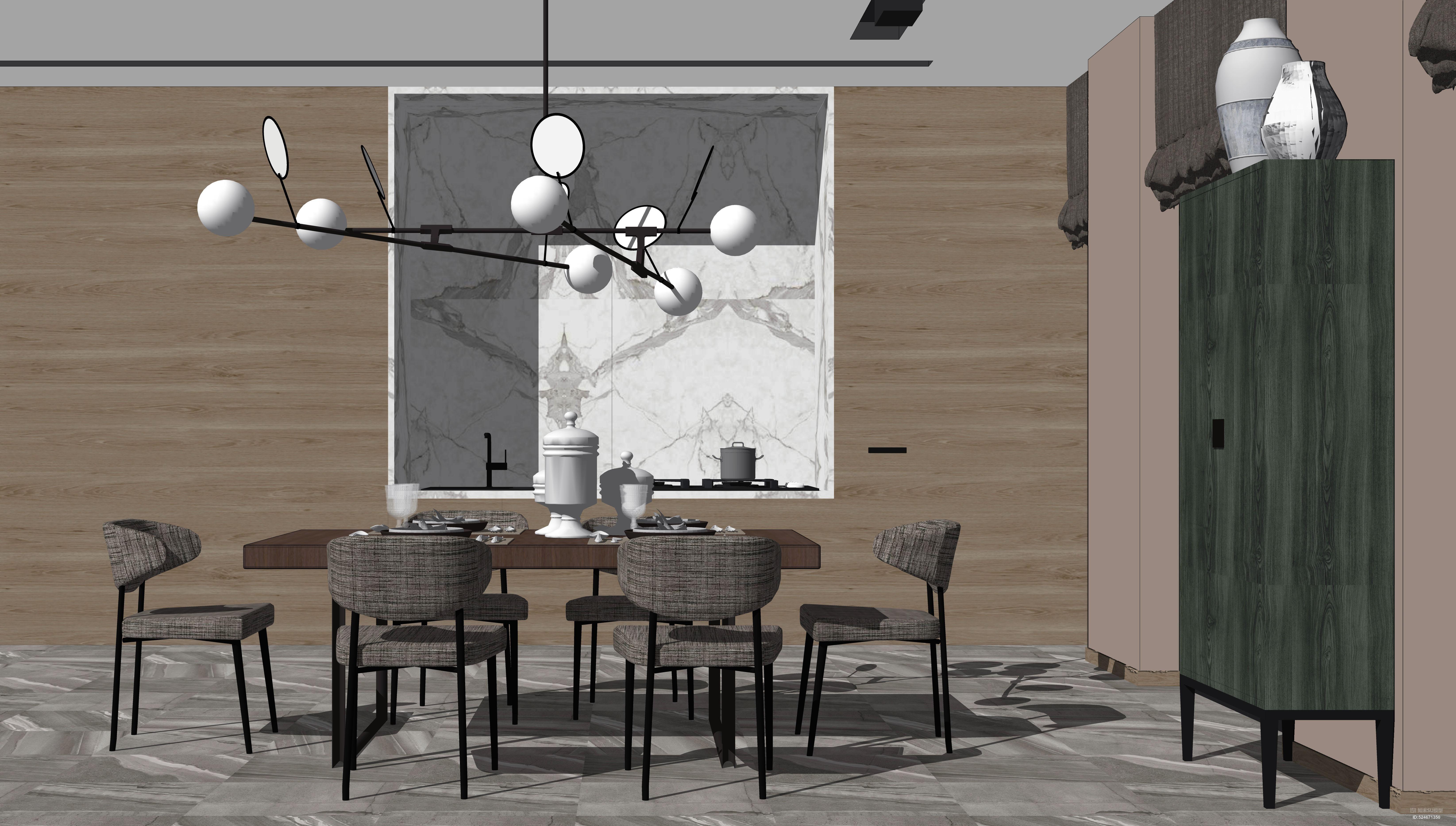 现代餐厅组合SU模型