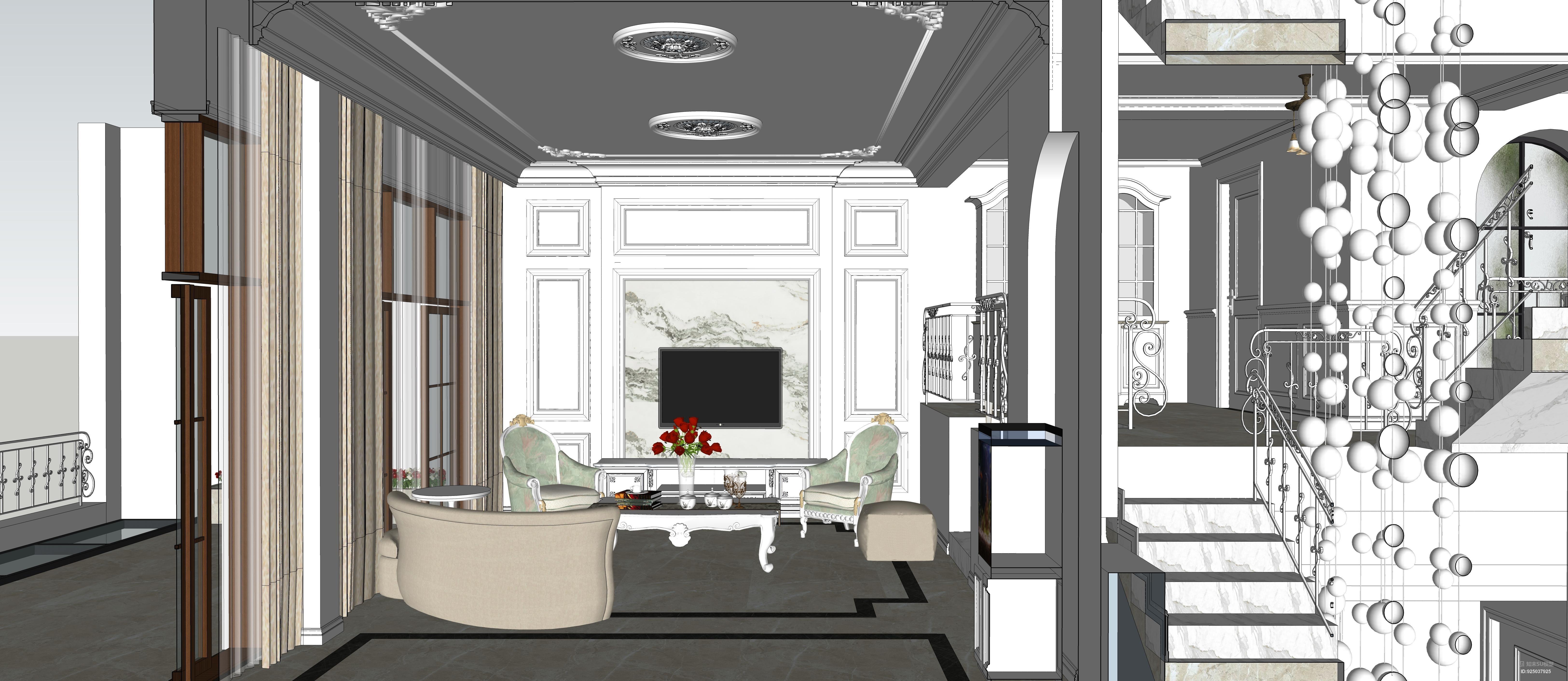 欧式整套别墅三层 客厅 餐厅 卫生间 卧室 楼梯 扶手 沙发奢华灯盘角花