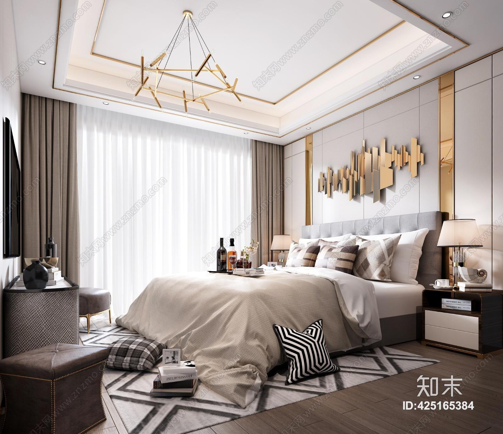 后现代主人房 床具 吊灯 台灯 挂画 电视 装饰品 地毯 床头柜 装饰品 窗帘