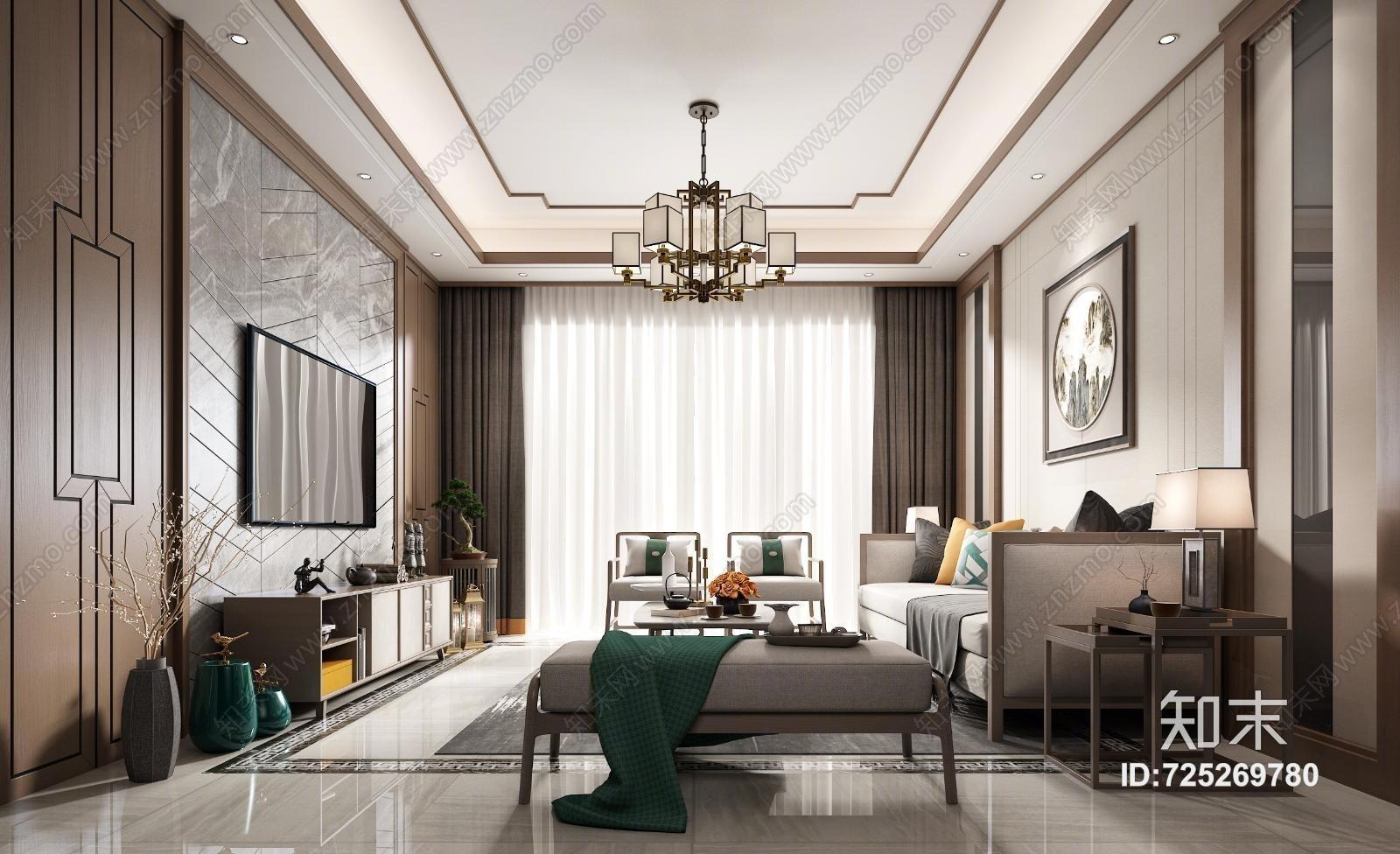 新中式客厅 沙发 挂画 装饰品 吊灯 台灯 茶几 窗帘