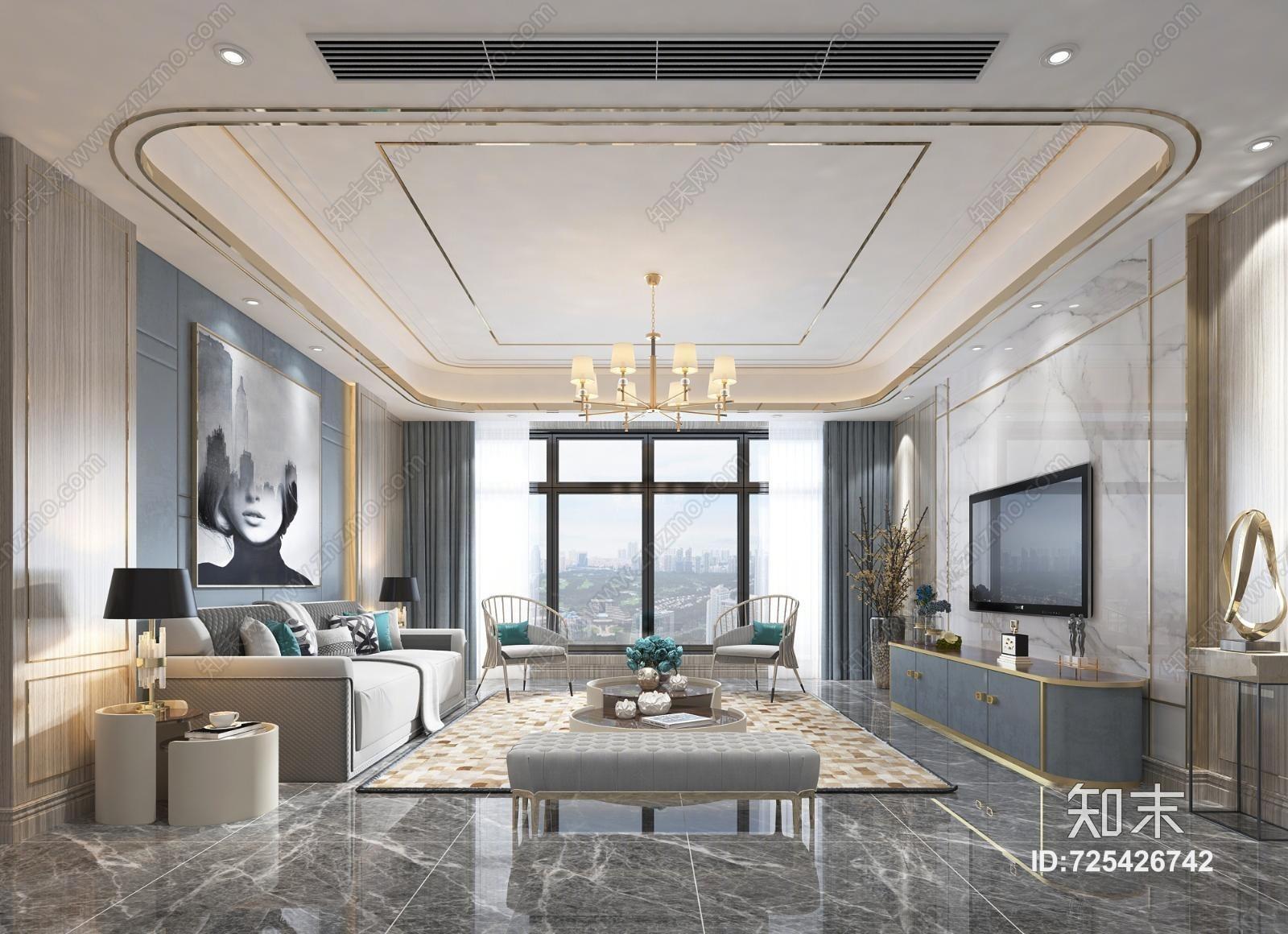 现代客厅 沙发茶几 吊灯 挂画 电视柜 摆件 餐桌椅