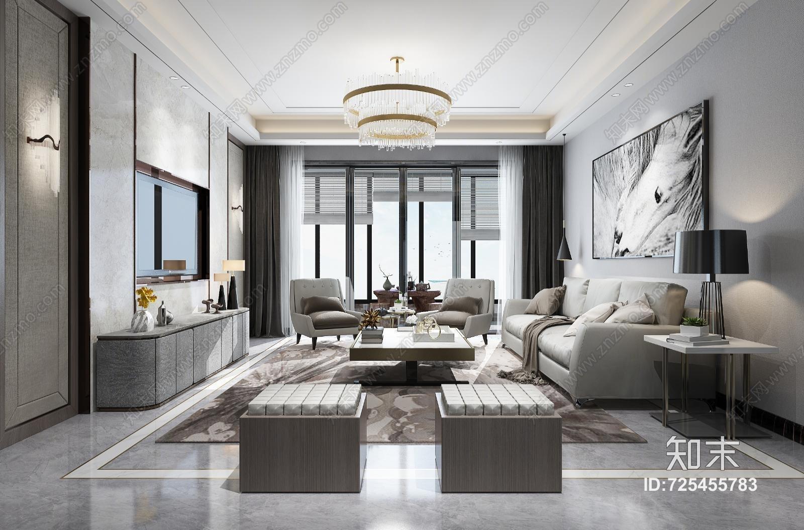 现代客厅 电视柜 沙发 吊灯 桌面摆件 挂画